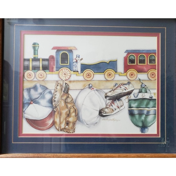 Boys Train and Sports Wall Art Primary Colors